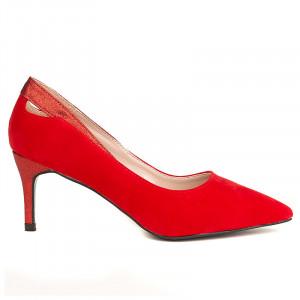Pantofi stiletto cu toc mediu din velur Amalia rosu
