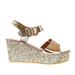 Sandale cu platforma Glitter gold