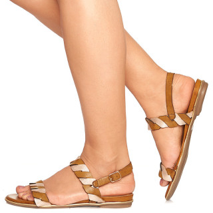 Sandale cu Talpa Joasa din Piele Adora Bej cu Auriu