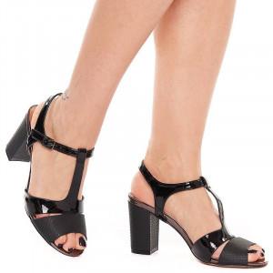 Sandale cu toc gros Mia nero