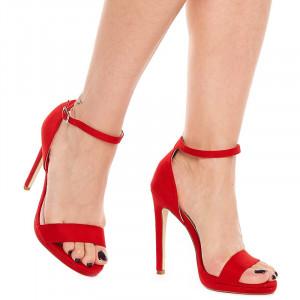 Sandale cu toc inalt din velur Antonia rosu