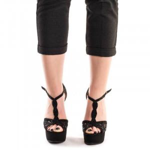 Sandale cu toc inalt si platforma Gerasole negru