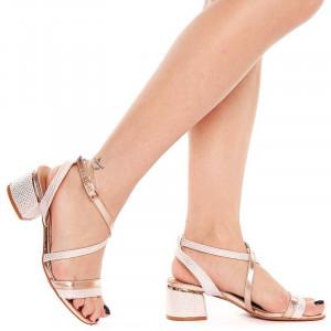 Sandale cu toc mic Gilda nude