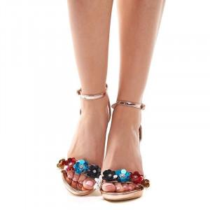 Sandale cu toc si flori elegante Camelia