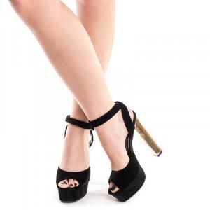 Sandale cu toc si platforma elegante Mia negru