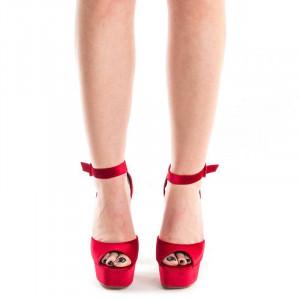 Sandale cu toc si platforma elegante Mia rosu