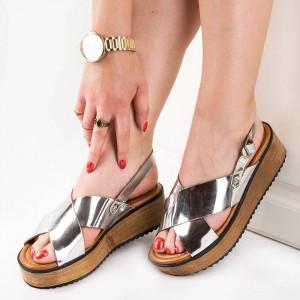 Sandale Dama Casual cu Talpa Inalta Carmina Argintiu