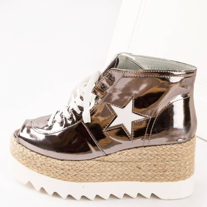 Sneakers cu siret si talpa inalta Antonia bronze