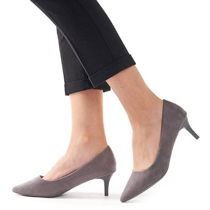 Pantofi stileto cu toc mic din velur Clara gri