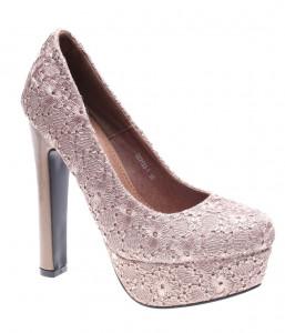 Pantofi de dama taupe Romantic Flower