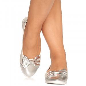 Balerini Elvira alb cu argintiu