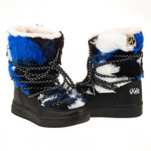Cizme de iarna pentru baieti cu blana groasa in interior Kylie crazy albastru