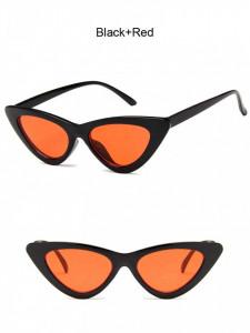 Ochelari de soare retro ochi de pisica Giuliana negru cu lentila rosie