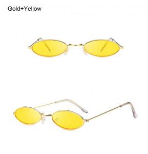 Ochelari de soare retro oval Giulietta auriu cu lentila galbena