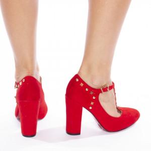 Pantofi cu toc gros din velur Agostina rosu