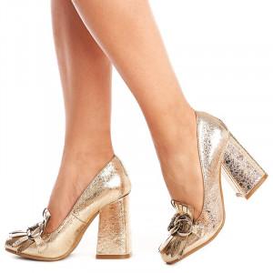 Pantofi cu toc gros trendy Alexa auriu