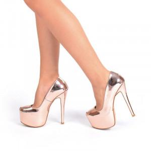 Pantofi dama cu toc inalt si platforma Alma bronze