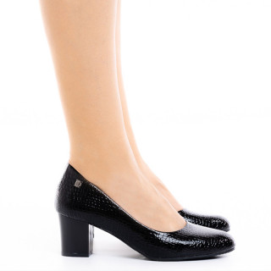 Pantofi dama cu toc mic din lac Lucia