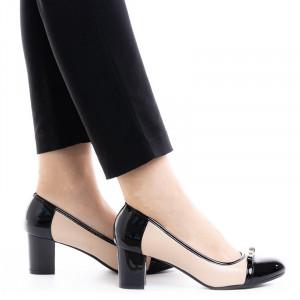 Pantofi dama office cu toc mic Daria bej cu negru