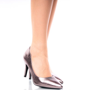 Pantofi dama stiletto cu toc mediu din material special Antonia gri