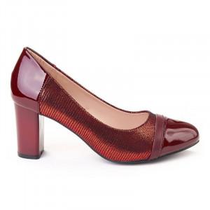 Pantofi office chic cu toc gros rosso scuro