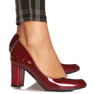Pantofi office cu toc mediu gros Adelina bordo
