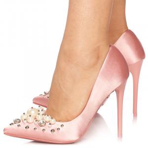 Pantofi stiletto cu toc inalt din satin Giuliana roz