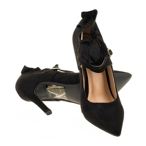 Pantofi stiletto din velur cu barete si model Mia blk