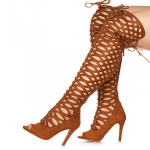 Sandale cu toc inalt din velur Grazia bej