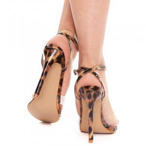 Sandale cu toc inalt leopard Amalia