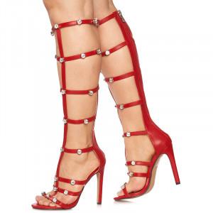 Sandale cu toc inalt Valentina rosii