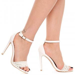 Sandale dama cu toc inalt elegante Olivia alb