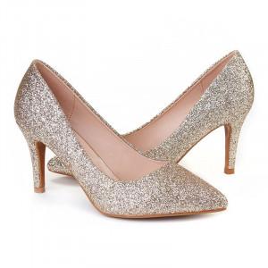 Pantofi stiletto cu toc mic din material deosebit Camelia ORO