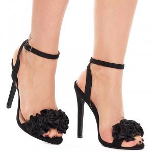 Sandale cu toc inalt din velur Amalia