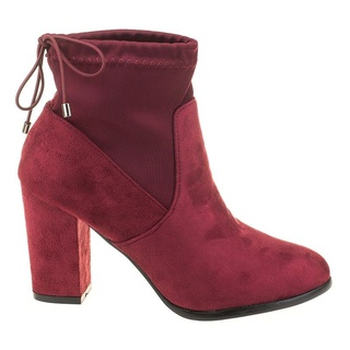 Botine chic din velur Anne red