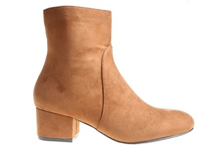 Botine cu toc office Amalia camel