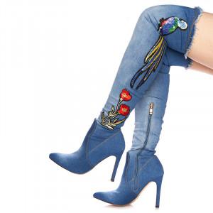 Cizme cu toc peste genunchi din blugi Martina blu
