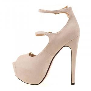 Pantofi cu platforma si toc inalt clubbing Giulia bej