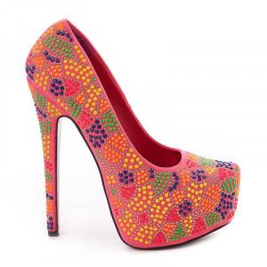 Pantofi cu platfroma si toc inalt Alexa rose