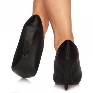 Pantofi cu toc inalt din satin Lorenza negru