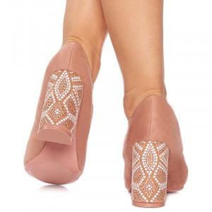 Pantofi cu toc inalt din velur Grazia roz