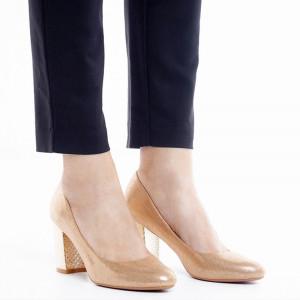 Pantofi dama cu toc mediu din material deosebit Catarina