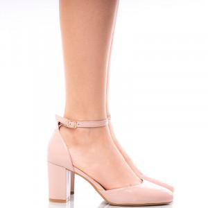 Pantofi dama decupati cu toc mediu gros Giulia nude