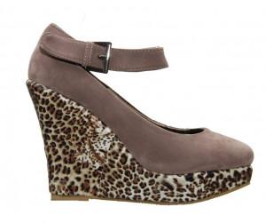 Pantofi khaki cu platforma leopard