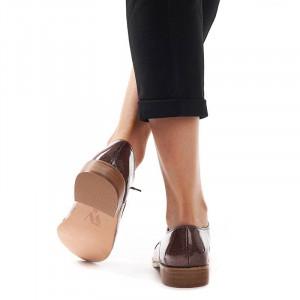 Pantofi office cu interior din piele naturala Alejandra bronzo