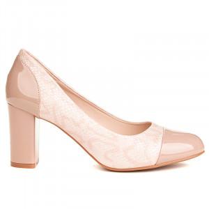 Pantofi office cu toc gros comod Adria nude