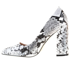 Pantofi office cu toc gros Salma alb