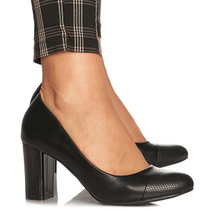 Pantofi office cu toc mediu gros Angelica negru
