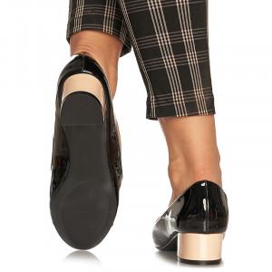 Pantofi office cu toc mic din lac Antonia bej cu negru