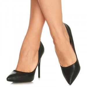 Pantofi stiletto cu toc inalt Gabriela negru